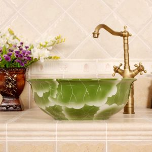 RYXW565 Flower design bathroom ceramic Chinese wash basin
