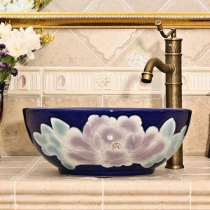 RYXW568 Flower design bathroom ceramic sink