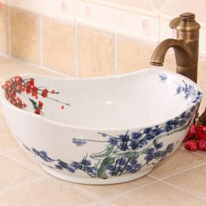 RYXW600 Hand painted Blue and white floral design ceramic bathroom vessel sink