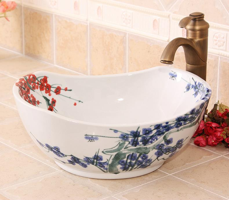 Ryxw600 Hand Painted Blue And White Floral Design Ceramic