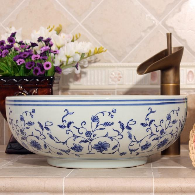 Ryxw606 China Blue And White Porcelain Vessel Sink