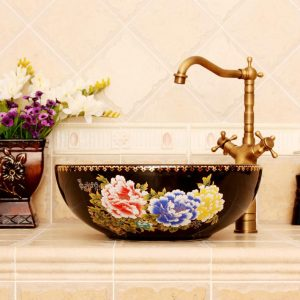 RYXW650 Black red Floral design Oval bathroom vessel sink