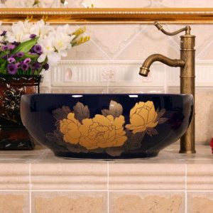 RYXW651 Dark blue with gold flower design Oval bathroom vessel sink