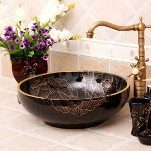 White or black with flower design Oval bathroom vessel sink