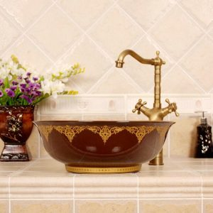 RYXW670 Porcelain China Oval bathroom vessel sink
