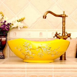 RYXW670 Yellow with floral design Porcelain bathroom vessel sink