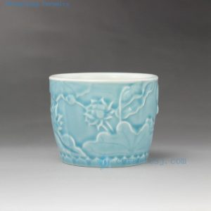 RYYF22 9cm Small Solid color engraved flower ceramic pots