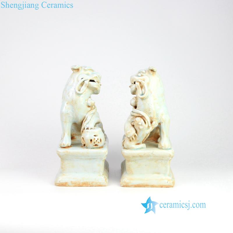 lion treds on ball porcelain figurine