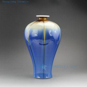 """RZEK02 13.6"""" Jingdezhen Transmutation glazed porcelain vase blue Mei shape"""