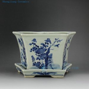 RZEX01-A Hand painted flower bird 5 sided Blue and white Planter