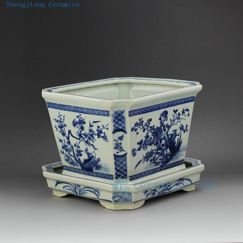 Rzex01 B 11 5 Flower Bird Blue And White Garden Ceramic