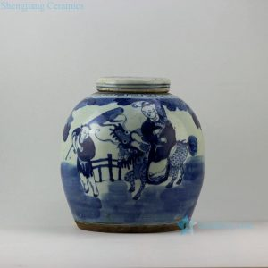 RZEY01 Blue and white jars figure design flat top lid