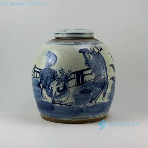 "RZEY02 12"" Blue and white jars figure and unicorn design flat top lid"