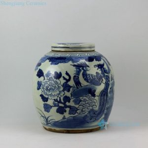 RZEY03 12inch Flower and bird flat top lidded blue and white jars