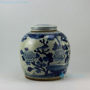 "RZEY04 12"" Flat top lid blue and white jars flower and bird"