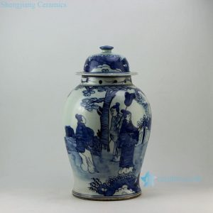 "RZEY05 17.5"" Painted blue and white lady ginger jars"