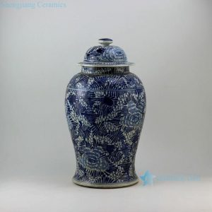 "RZEY06 18"" Painted blue and white floral design porcelain ginger jars"