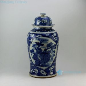 "RZEY07 19.4"" Painted blue and white with medallion trees and bird design porcelain ginger jars"