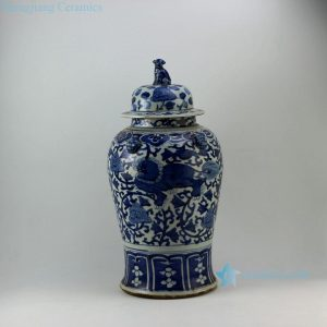 "RZEY08 21"" Lion design with lion heads on top blue and white ginger jars"