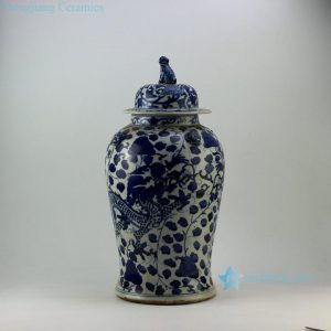RZEY09 Chinese dragon design with lion heads on top blue and white ginger jars