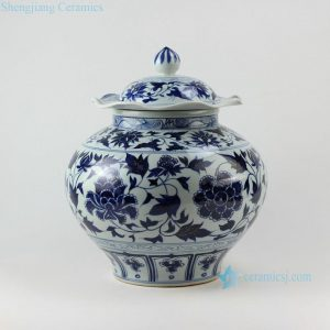 "RZEZ02-A 15.5"" Ming dynasty reproduction Blue and white floral Jars"