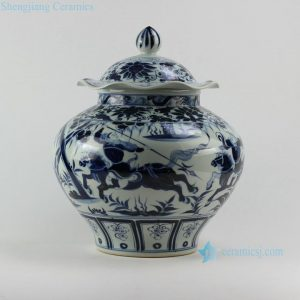 RZEZ02-B 15.5inch Ming reproduction soldier design blue and white Jars