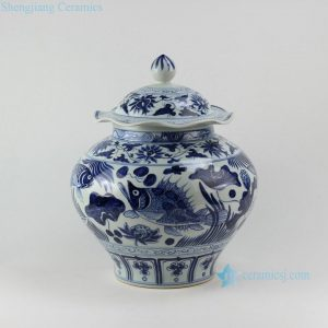 RZEZ02-C Fish design blue and white Ming reproduction Jars