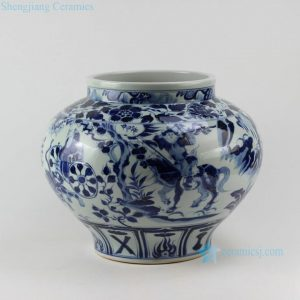 """RZEZ02-E 14.5"""" Guigu zi design blue and white Ming reproduction Porcelain Jars"""