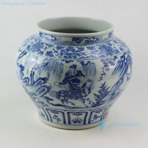"RZEZ03 13.6"" High quality reproduction Xiaohe chase Hanxin design blue and white Ming Porcelain Jar"