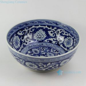 "RZEZ04 15.3"" Reproduction blue and white Ming Porcelain floral Bowl"