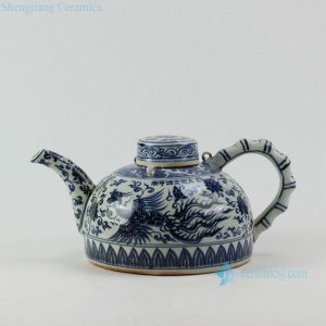 "RZEZ05 8"" Reproduction Ming blue and white bamboo phoenix Porcelain pot"