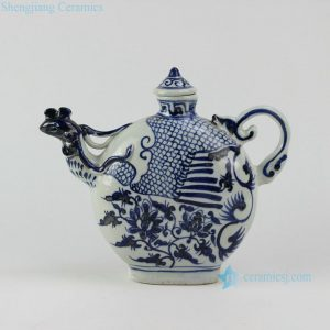"RZEZ06 10.5"" Ming Reproduction blue and white phoenix head Porcelain pots"