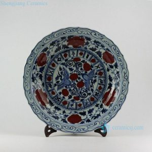 "RZEZ09-A 17.5"" Ming Reproduction blue and white copper red phoenix Porcelain plates"
