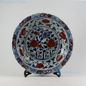 """RZEZ09-B 17"""" Ming Reproduction blue and white copper red floral Porcelain plates"""