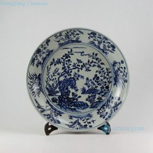 "RZEZ09-C 16"" Ming Reproduction blue and white floral Porcelain plates"