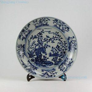 """RZEZ09-C 16"""" Ming Reproduction blue and white floral Porcelain plates"""