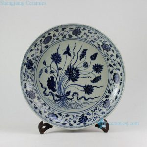 RZEZ09-D Hand painted Ming Reproduction blue and white floral Porcelain plates