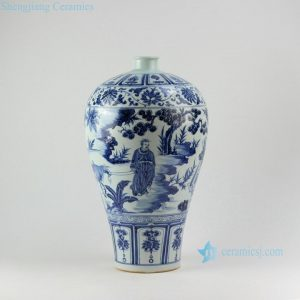 "RZEZ14 17"" High quality Ming Reproduction blue and white Mei vase Xiaohe chase Hanxin design"
