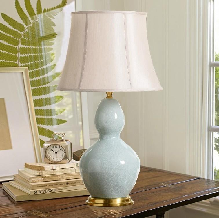 Bottle Gourd Green Bean Design Ceramic Table Lamp
