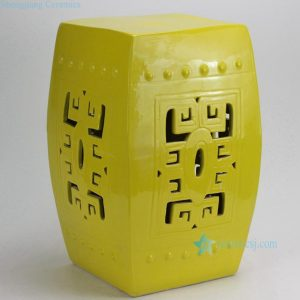 RYKB118-A Yellow Carved Square Ceramic Garden Stool