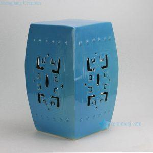 RYKB118-B Blue Carved Square Ceramic Garden Stool