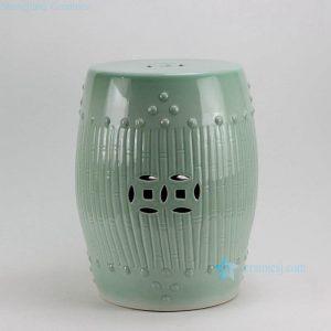 "RYKB88-A 17"" Celadon Bamboo design Ceramic Garden Stool"