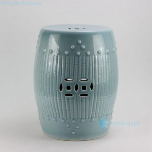 RYKB88-B 17inch Celadon Blue Bamboo design Ceramic Garden Stool