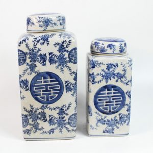 RYPU13 Set of 2 Blue and White Square Tin Jar with Round Lid