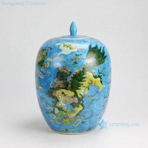 RYQQ51-C H13 inch Jingdezhen hand painted Famille rose kylin design porcelain melon jars