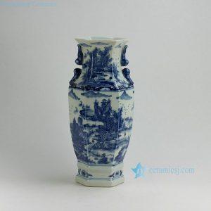 """RYUK18 16.7"""" Landscape design Blue & White Vases"""