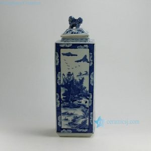 RYUK21 19inch Landscape design Blue & White Square Jars with Foo Dog Lid