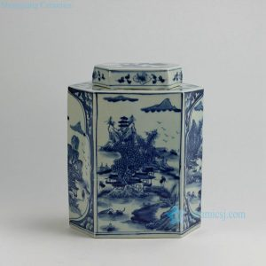 "RYUK22 12"" Landscape design 6 Sided Blue & White Jars"
