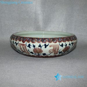 RYVK02 Jingdezhen hand painted blue white with copper red floral porcelain bowl