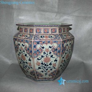 "RYVK12 15.7"" Blue White with Copper Red Floral Fish Bowl"
